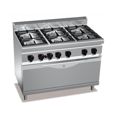 BERTOS G7F6+T Επιδαπέδια Κουζίνα Αερίου Με Γίγα Φούρνο Αερίου 1045x530mm & 6 Εστ επαγγελματικός εξοπλισμός   κουζίνες πλατό φριτέζες βραστήρες  επαγγελματικός εξ