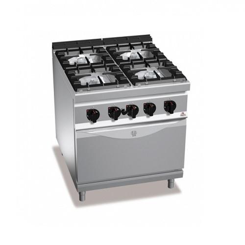 BERTOS G9F4+FE Επιδαπέδια Κουζίνα Αερίου Με Φούρνο Ηλεκτρικό GN 2/1 & 4 Εστίες - επαγγελματικός εξοπλισμός   κουζίνες πλατό φριτέζες βραστήρες  επαγγελματικός εξ