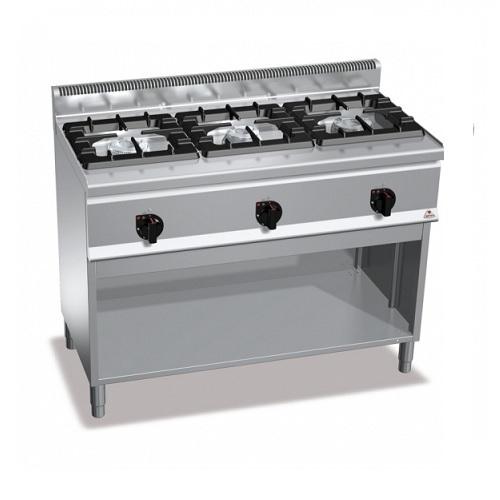 BERTOS G6F3MH12P Επιδαπέδια Κουζίνα Αερίου χωρίς Φούρνο Με 3 Εστίες - 1200x600x9 επαγγελματικός εξοπλισμός   κουζίνες πλατό φριτέζες βραστήρες  επαγγελματικός εξ