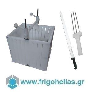 00019 Σουβλακομηχανή Πολυαιθυλενίου με Μαχαίρι και Τρίαινα Για 108 Τεμάχια Σουβλάκια & Καλαμάκια Πλακέ - Βάρους: 110gr