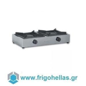 KARAMCO TIGPLNX12 Επαγγελματική Εστία Υγραερίου Διπλή Επιτραπέζια - 800x400x200mm