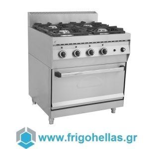 NORTH F GAS E400 Επιδαπέδια Φλόγιστρα Κουζίνα Υγραερίου με Φούρνο(Δώρο μία Φραπιέρα Johny)