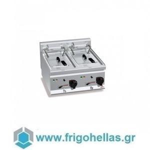 BERTOS E6F10-6BS Φριτέζα Ηλεκτρική Διπλή 10+10Lit Με Αναδιπλούμενες Αντιστάσεις - 600x600x290mm