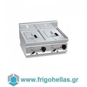 BERTOS E7F10-8BS Φριτέζα Ηλεκτρική Διπλή 10+10Lit Με Αναδιπλούμενες Αντιστάσεις - 800x700x290mm