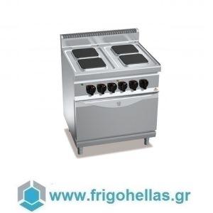 BERTOS E7PQ4+FE Επιδαπέδια Κουζίνα Ηλεκτρική Με Φούρνο Ηλεκτρικό Στατικό GN 2/1 - 800x700x900mm