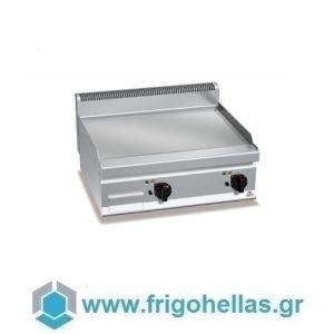 BERTOS E7FL8BP-2/CR Επιτραπέζιο Πλατό Ηλεκτρικό Με Λεία Χρωμιωμένη Πλάκα & Δύο Ζώνες Ψησίματος - 800x700x290mm