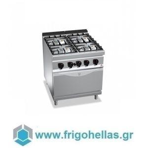 BERTOS G9F4P+FE Επιδαπέδια Κουζίνα Αερίου Με Φούρνο Ηλεκτρικό GN 2/1 & 4 Εστίες - 800x900x900mm
