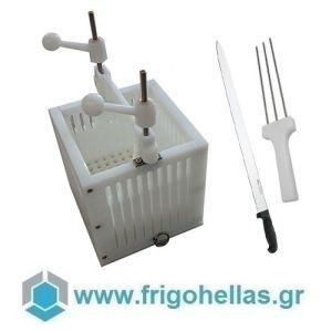 Arrosticini Spiedini Σουβλακομηχανή με Μαχαίρι και Τρίαινα Για 100 Τεμάχια Σουβλάκια & Καλαμάκια- Βάρους: 25gr