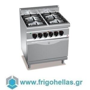 BERTOS G7F4+FE Επιδαπέδια Κουζίνα Αερίου Με 4 Εστίες & Στατικό Ηλεκτρικό Φούρνο - 800x700x900mm
