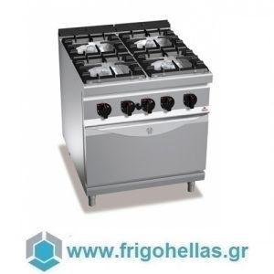 BERTOS G9F4+FE Επιδαπέδια Κουζίνα Αερίου Με Φούρνο Ηλεκτρικό GN 2/1 & 4 Εστίες - 800x900x900mm