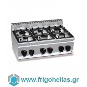 BERTOS G6F6B Επιτραπέζια Κουζίνα Αερίου Με 6 Εστίες - 900x600x290mm