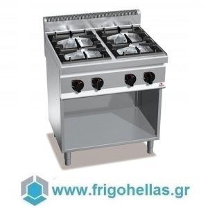 BERTOS G7F4MP Επιδαπέδια Κουζίνα Αερίου χωρίς Φούρνο Με 4 Εστίες - 800x700x900mm