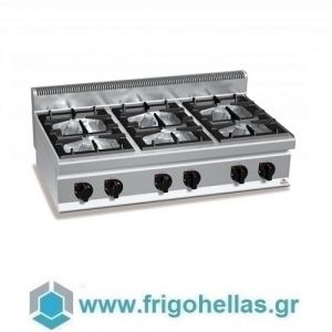 BERTOS G7F6BP Επιτραπέζια Κουζίνα Αερίου Με 6 Εστίες - 1200x700x290mm
