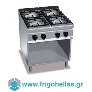 BERTOS G9F4MP Επιδαπέδια Κουζίνα Αερίου χωρίς Φούρνο Με 4 Εστίες - 800x900x900mm