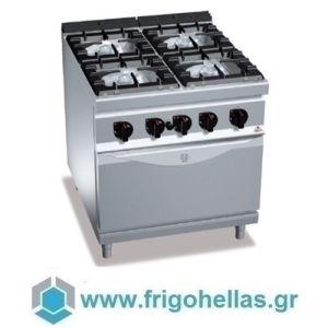 BERTOS G9F4P+FG Επιδαπέδια Κουζίνα Αερίου Με Φούρνο Αερίου GN 2/1 & 4 Εστίες - 800x900x900mm