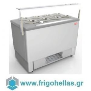 CRYSTAL FESTIVAL Inox 8 (Εξουσιοδοτημένο Service - Επίσημος Μεταπωλητής) Βιτρίνα Παγωτού 8 Γεύσεων (Plexi Glass + Led Φωτισμός)