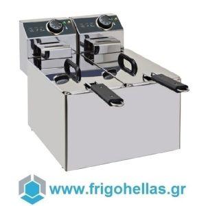 XDOME XDF44LS Επαγγελματική Φριτέζα Ηλεκτρική 4+4Lit - 6Kw - 230Volt (Πορτογαλίας)