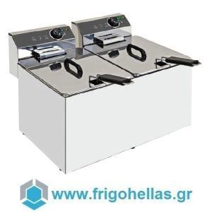 XDOME XDF1010LT Επαγγελματική Φριτέζα Ηλεκτρική 10+10Lit - 14Kw - 380Volt (Πορτογαλίας)