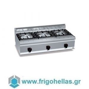 BERTOS G6F3BH12P Επιτραπέζια Κουζίνα Αερίου Με 3 Εστίες - 1200x600x290mm
