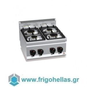 BERTOS G6F4B Επιτραπέζια Κουζίνα Αερίου Με 4 Εστίες - 600x600x290mm