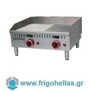 KARAMCO PL-JY-610A-OZ (61x56x27cm) Πλατό Υγραερίου Λείας & Ραβδωτής Επιφάνειας Επιτραπέζιο Ανοξείδωτο