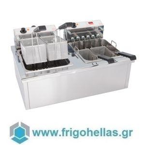 ΜΙΧΑΗΛΙΔΗΣ M&M PC130 13+13Lt  (Εξουσιοδοτημένο Service - Επίσημος Μεταπωλητής) Διπλός Βραστήρας Ζυμαρικών Λαχανικών Ρυζιού και Αυγών με Ψηφιακό Χρονόμετρο