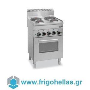 MBM E4F6 Επιδαπέδια Ηλεκτρική Κουζίνα με 4 Ανοξείδωτες Εστίες Εμαγιέ & Φούρνο 2Kw - 600x600x850mm