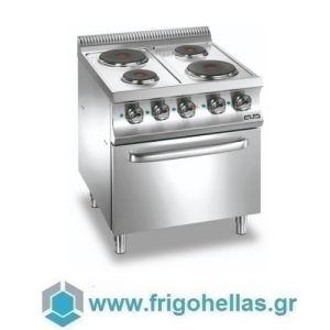 MBM E4F77 Επιδαπέδια Ηλεκτρική Κουζίνα με 4 Μαντεμένιες Εμαγιέ & Φούρνο Στατικό 5,3Kw - 700x730x850mm