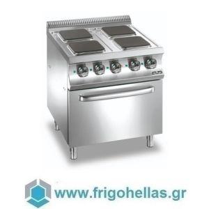 MBM E4F77Q Επιδαπέδια Ηλεκτρική Κουζίνα με 4 Τετράγωνες Μαντεμένιες Εστίες & Φούρνο Στατικό 5,3Kw - 700x730x850mm
