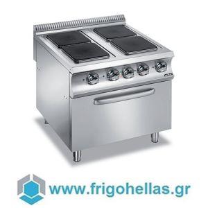MBM E4F98Q Επιδαπέδια Ηλεκτρική Κουζίνα με 4 Τετράγωνες Μαντεμένιες Εστίες & Φούρνο 6Kw - 800x900x850mm