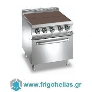 MBM E4FP77Q Επιδαπέδια Ηλεκτρική Κουζίνα με 4 Τετράγωνες Επίπεδες Μαντεμένιες Εστίες & Φούρνο Στατικό 5,3Kw - 700x730x850mm