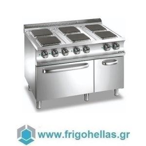 MBM E6FA77Q Επιδαπέδια Ηλεκτρική Κουζίνα με 6 Τετράγωνες Μαντεμένιες Εστίες & Φούρνο Στατικό 5,3Kw - 1100x730x850mm