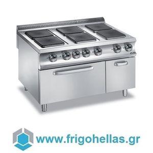 MBM E6FA98Q Επιδαπέδια Ηλεκτρική Κουζίνα με 6 Τετράγωνες Μαντεμένιες Εστίες & Φούρνο Στατικό 6Kw - 1200x900x850mm