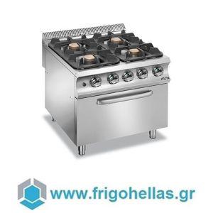 MBM G4FE98XL Επιδαπέδια Κουζίνα Υγραερίου με 4 Εστίες & Ηλεκτρικό Στατικό Φούρνο 6Kw/400Volt - 800x900x850mm