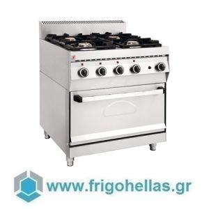 NORTH EL GAS Επιδαπέδια Κουζίνα Φυσικού Αερίου με Ηλεκτρικό Φούρνο