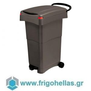 PADERNO 44095-18 (40x65x81cm - 80 Lit) Τροχήλατος Κάδος Απορριμάτων Πολυπροπυλενίου με Πεντάλ Μαύρος