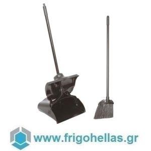 PADERNO 44149-03 (28,6x13x32,5cm) Σετ 2τμχ Σκούπα & Φαράσι Αυτοανοιγόμενο Μαύρο Πολυπροπυλενίου με Κοντάρι