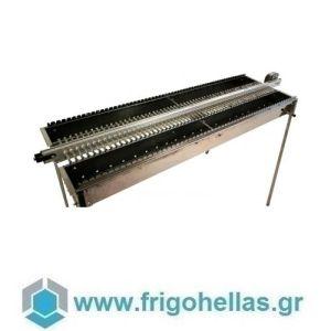 TECNOROAST TRD-120 (175x45x100cm) Ηλεκτρικη Διπλή Σουβλακιέρα Κάρβουνου Αυτόματης Περιστροφής για 120 Σουβλάκια