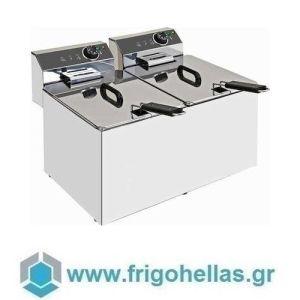 XDOME XDFL77LC Επαγγελματική Ηλεκτρική Φριτέζα 7+7Lt -9Kw/380Volt