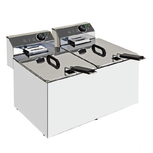 XDOME XDF1010LM Επαγγελματική Φριτέζα Ηλεκτρική 10+10Lit - 9Kw - 230Volt (Πορτογ επαγγελματικός εξοπλισμός   φούρνοι μικροκύματα κρεπιέρες βαφλιέρες φριτέζες  επ