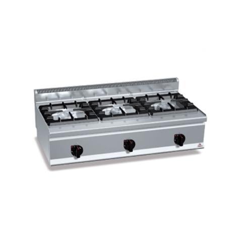 BERTOS G6F3BP12 Επιτραπέζια Κουζίνα Αερίου Με 3 Εστίες - 1200x600x290mm επαγγελματικός εξοπλισμός   κουζίνες πλατό φριτέζες βραστήρες  επαγγελματικός εξ